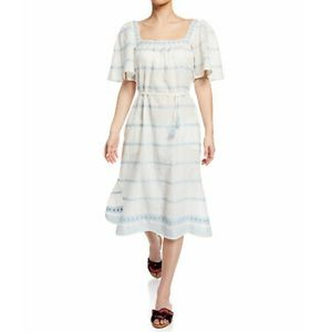Tory Burch | Embroidered Ruffle Dress NWT Size M